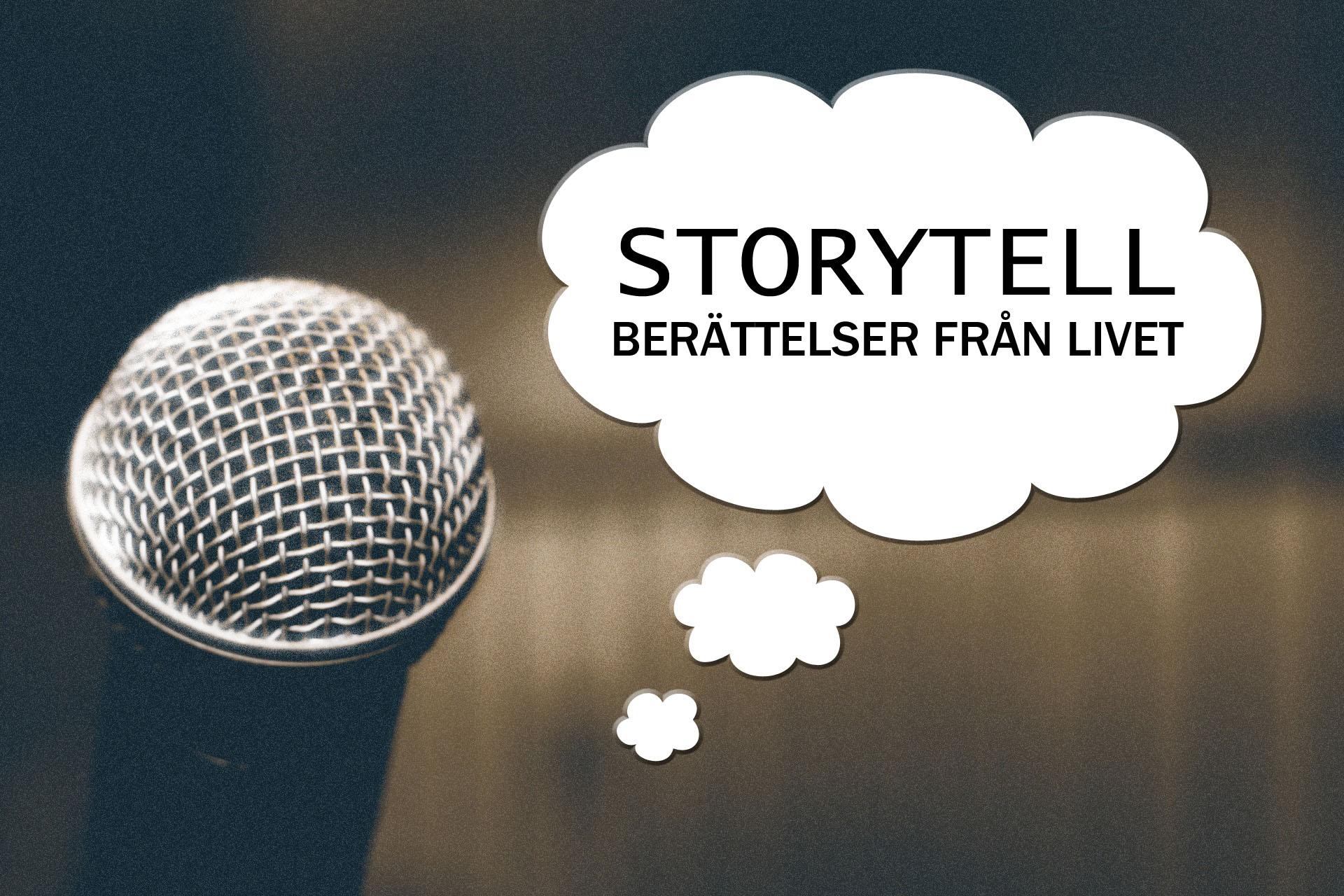 Mikrofon och pratbubbla där det står Storytell - Berättelser från livet