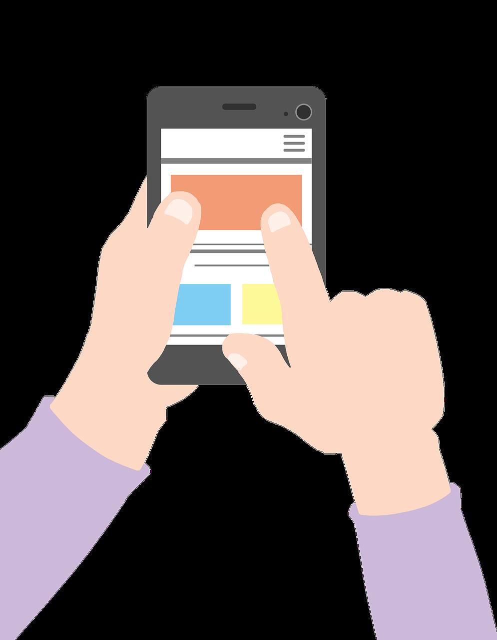 Tecknad persons händer håller i en smartphone